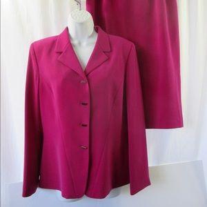 Kasper for Dillard's Skirt Suit Sz 10 Deep Pink